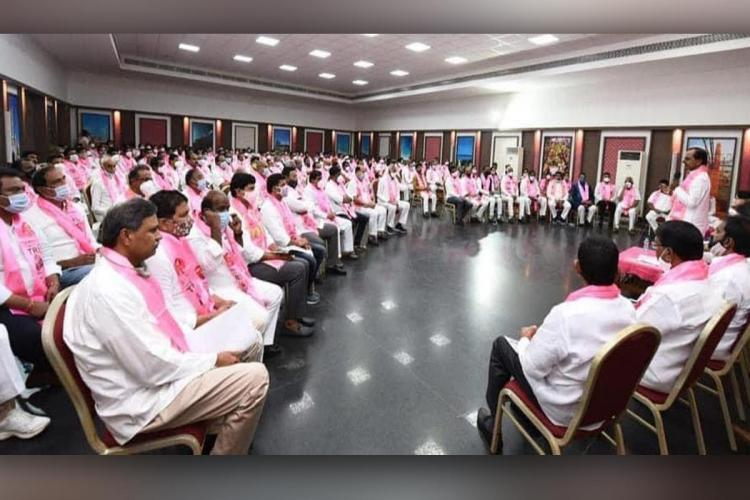 CM KCR presiding over a TRS meeting in which all TRS leaders participated