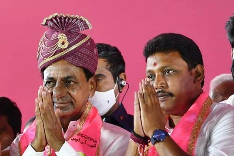 TRS MLA candidate Nomula Bhagath with CM KCR in a campaign rally