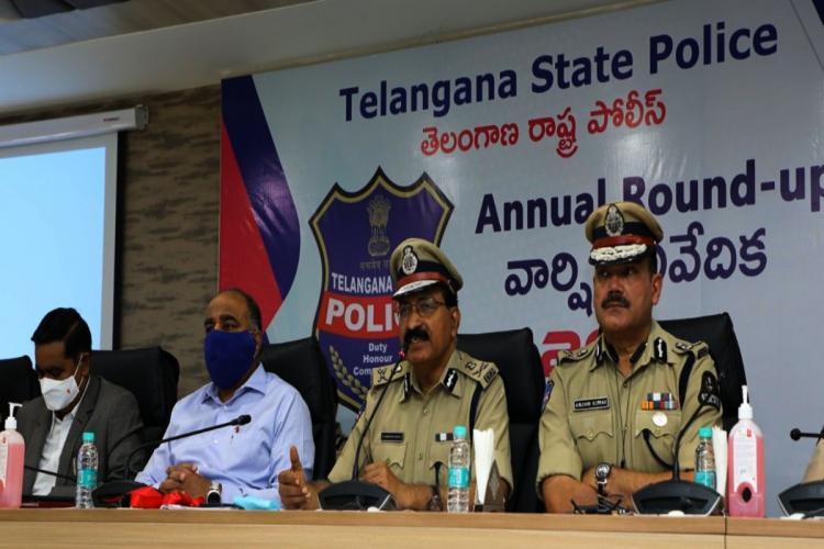 Telangana DGP Mahender Reddy addressing media in Hyderabad
