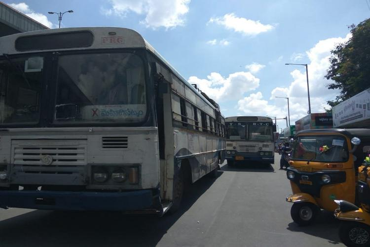 Since inter district bus services were resumed in May commuters in Hyderabad have relied on these buses for their commute within Hyderabad