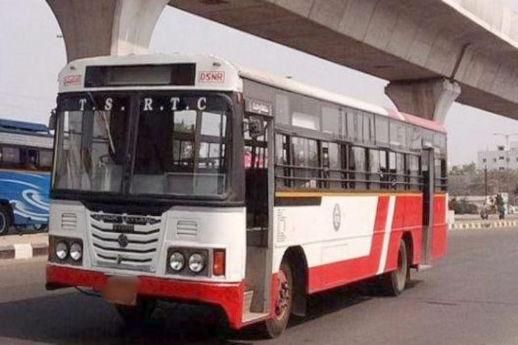 A TSRTC bus of Dilsukhnagar depot in Hyderabad