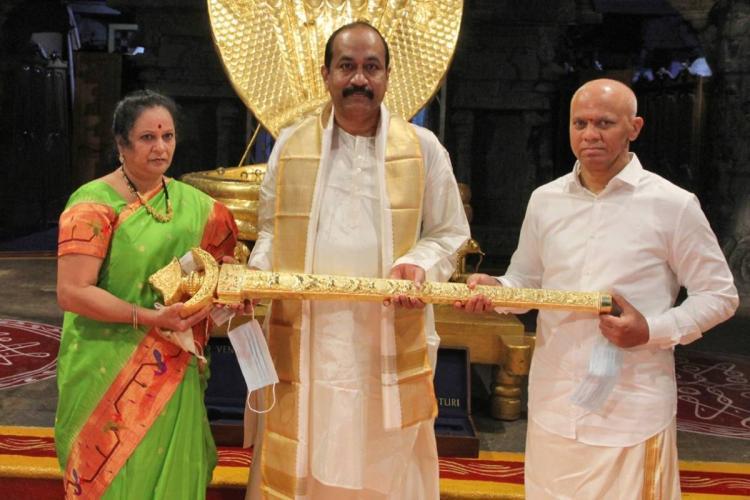 Hyderabad businessman MS Prasad donating golden sword to Tirumala temple