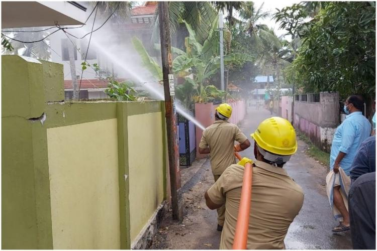 Trivandrum Corporation Staff Engaged in Disinfecting