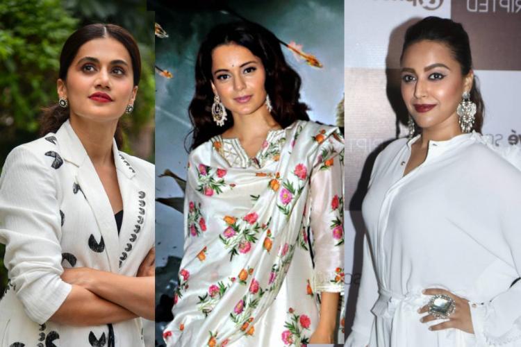 A collage of Taapsee Pannu Kangana Ranaut and Swara Bhaskar