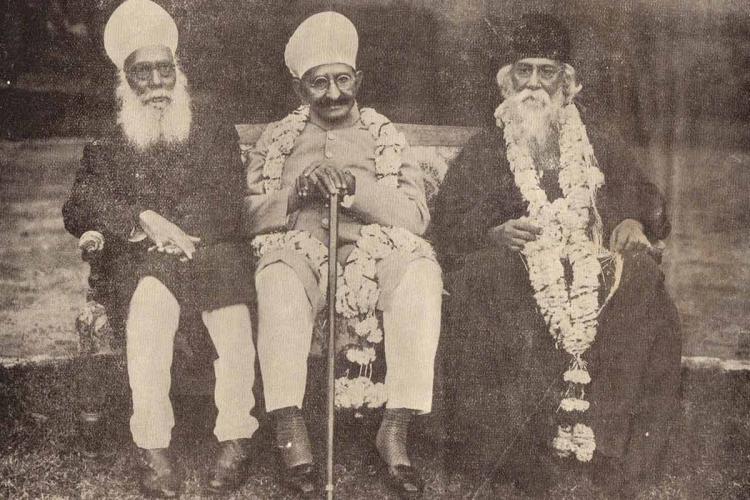Sir Amin Jung, Maharaja Kishen Pershad and Rabindranath Tagore in Hyderabad, 1933
