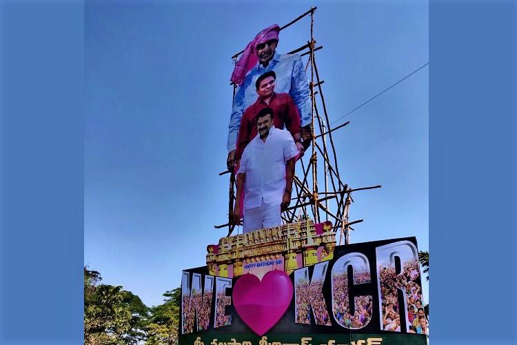 Telangana Minister fined for putting up hoarding of KCR on Hyderabads necklace road