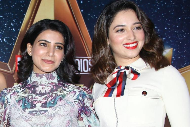 Samantha and Tammannah appear in modern costumes in an award show with loose hair