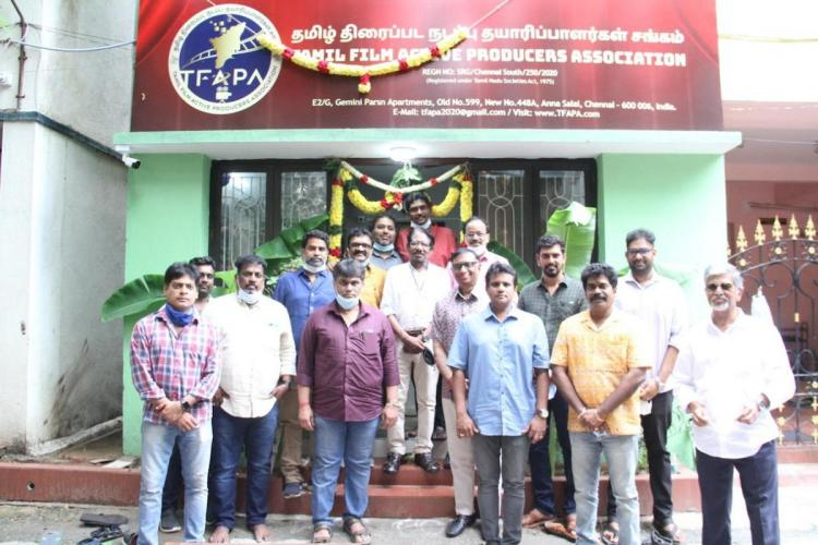 Tamil Film Active producers association members standing in front of newly inaugurated office
