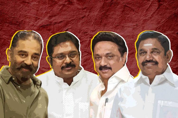 A collage of Edappadi Palaniswami TTV Dhinakaran MK Stalin and Kamal Haasan against a red background