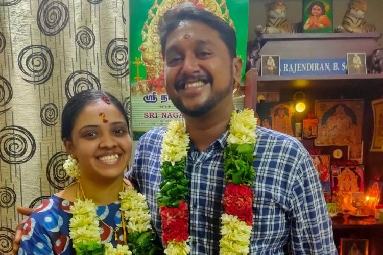 The couple Sakthi Tamilini Prabha and Karthikeyan