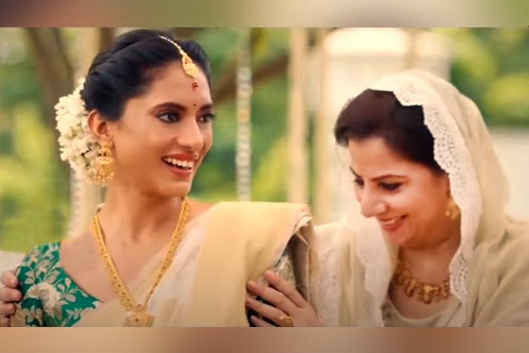 A screengrab of the Tanishq advertisement which shows a Hindu woman with her Muslim mother-in-law