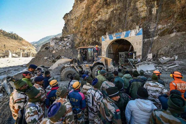 ITBP personnel coordinating a rescue operation at Tapovan tunnel in Joshimath Chamoli district in Uttarakhand