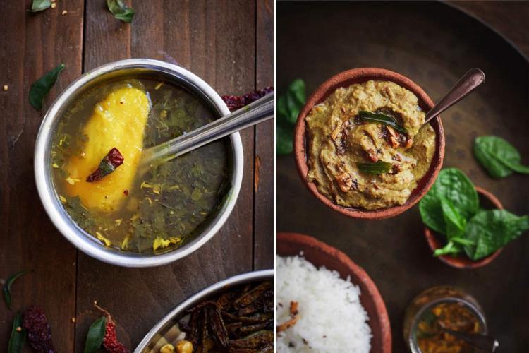Raw mango rasam and colocasia stalk dal images