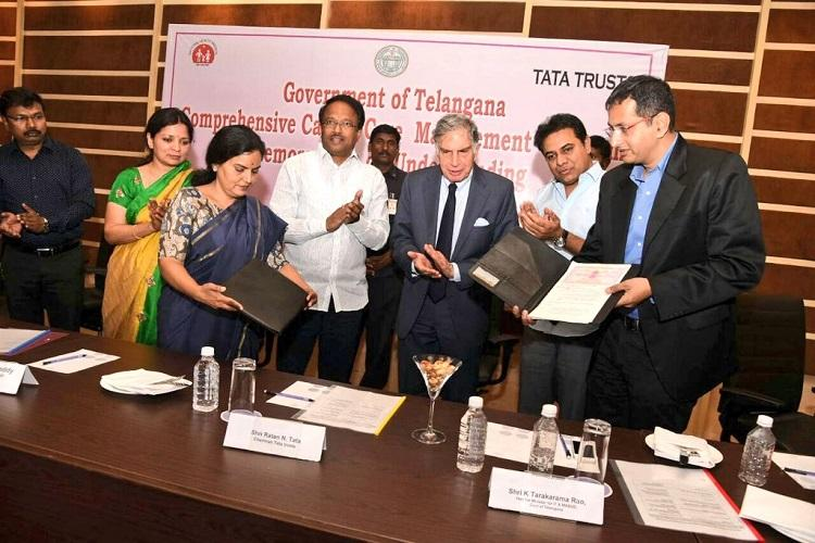Telangana govt Tata Trusts sign MoU for high quality cancer care