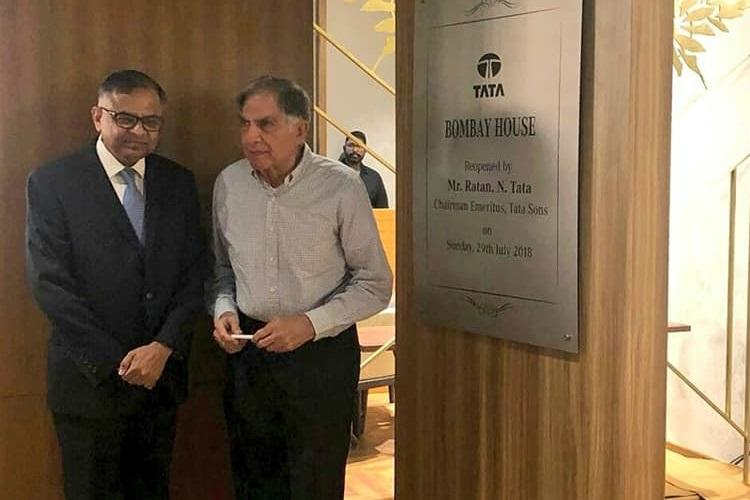 Tata group Chairman N Chandrasekhar with Chairman Emeritus Ratan Tata