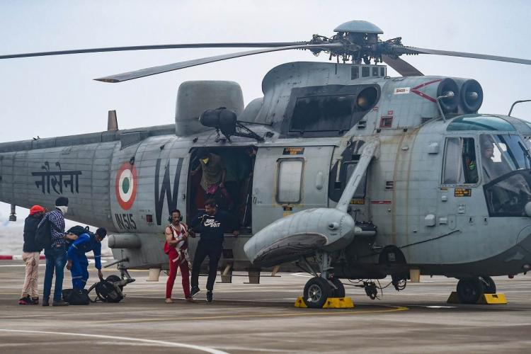Helicopter rescued persons after barge vessel drowned in Arabian sea due to Tauktae