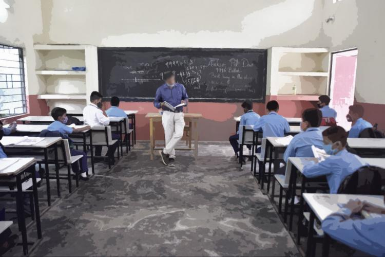 TEacher in a class with students