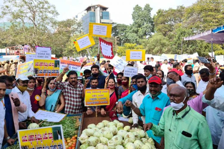 The teachers protesting by pushing a vegetable cart
