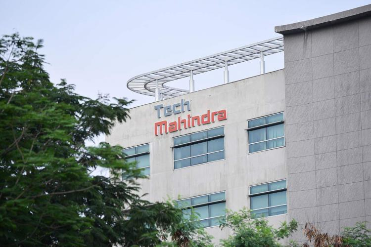 Tech Mahindra logo on one of its office buildings