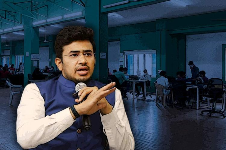 BJP MP Tejasvi Surya is seen wearing a white shirt and blue overcoat