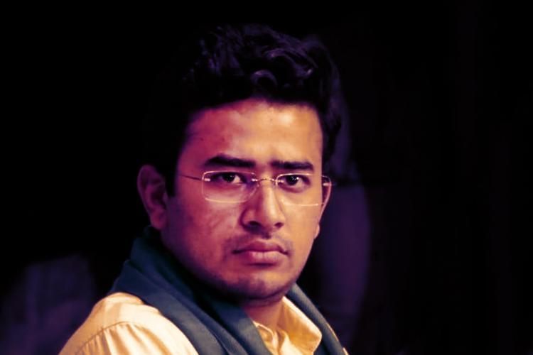 Tejasvi Surya stylised image in black background