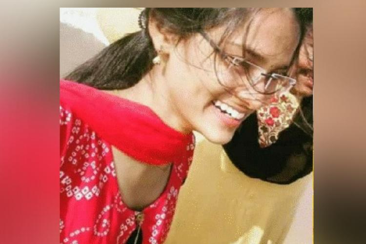 Engineering student Tejaswini from Ongole who died by suicide in a red kurta