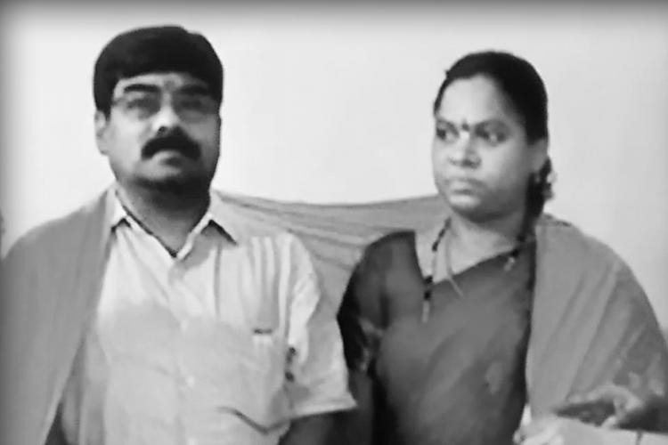 Black and white photo of Telangana advocates Vamana Rao and Nagamani who were hacked to death on Wednesday