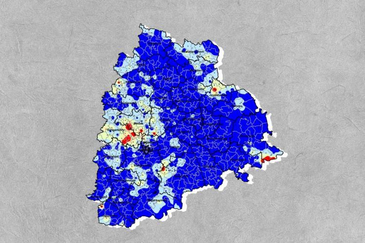 A Telangana map with water levels indicated in blue placed on a white background