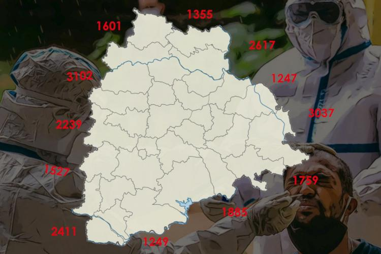 A map of Telangana with numbers all around and an image of a man being tested for COVID-19