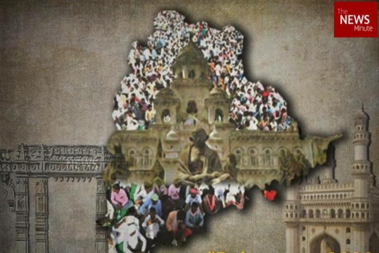 A collage that shows assembly building and Telangana cultural symbols