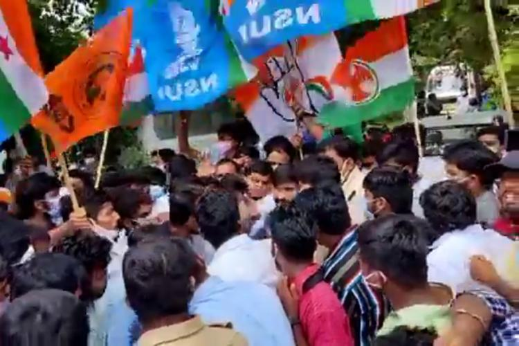 Student organisations protesting after Lavanya's death