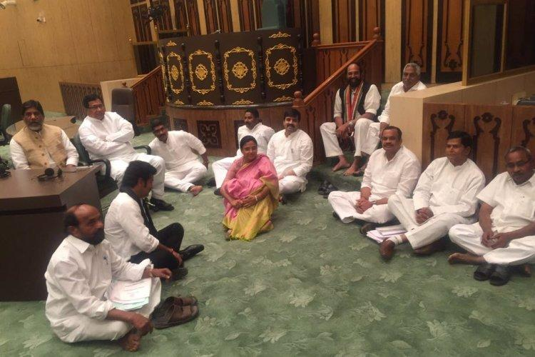 Opposition legislators evicted from Telangana assembly after sit-in protest