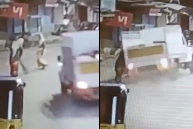 Collage of a white van hitting two women