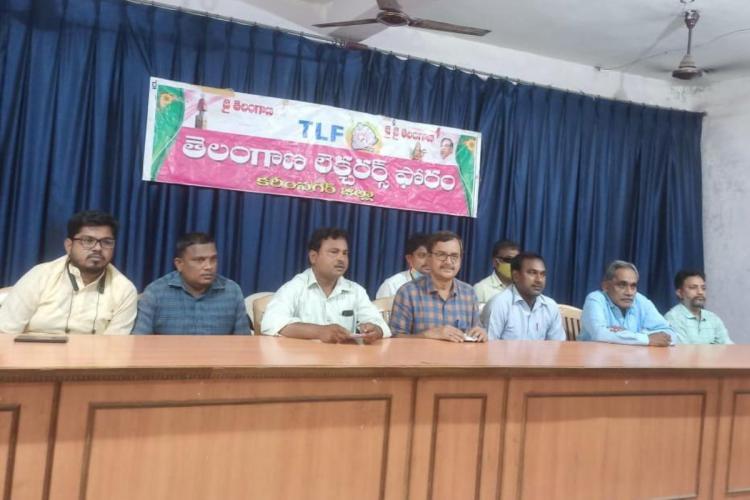 Members of Telangana Lecturers Forum addressing the media