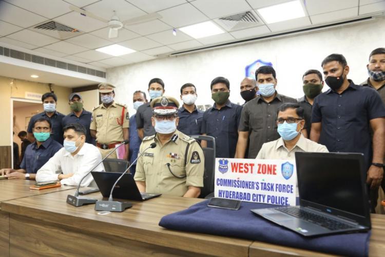 Hyderabad Police Commissioner addressing the media