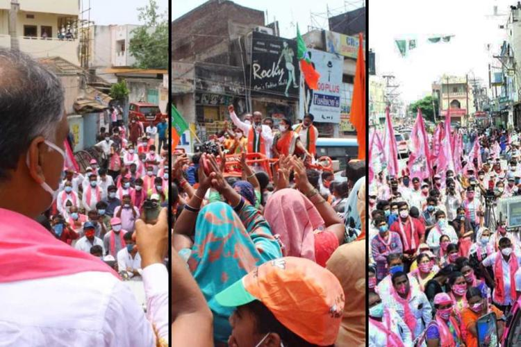 A collage of images showing rallies by parties amid the pandemic