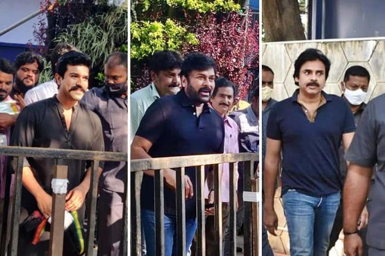 A collage of actors Ram Charan, Chiranjeevi and Pawan Kalyan at the MAA polling venue