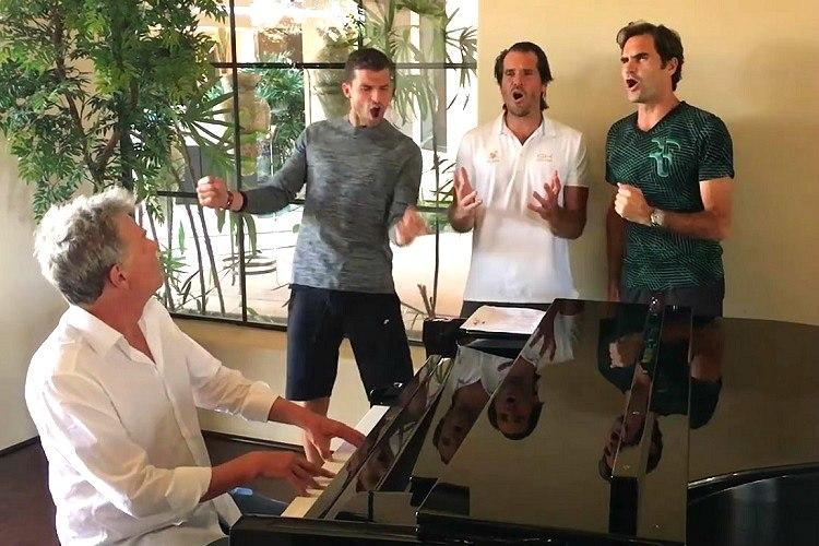 Watch Tennis champions Federer Djokovic Dimitrov and Haas in a boy band We love it