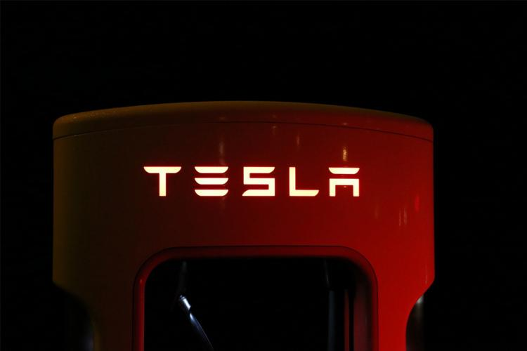 Tesla charging station with logo