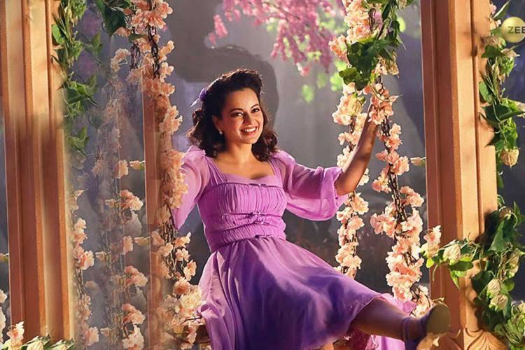 Kangana is seen donning a lavender dress in the song Mazhai Mazhai from the movie Thalaivi