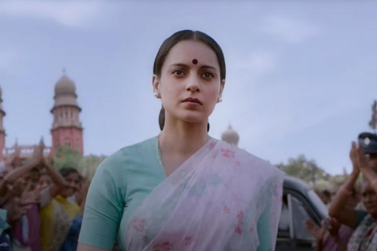 Kangana Ranaut in purple saree and red bindhi from Thalaivii movie