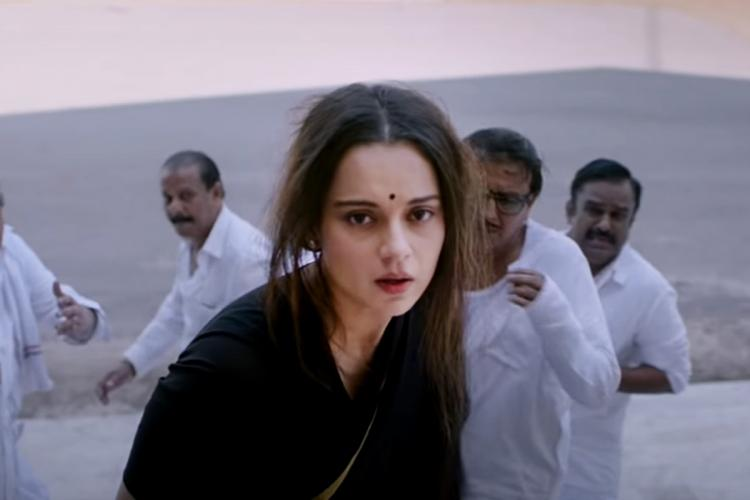 Kangana Ranaut as Jayalalithaa in Thalaivi trailer wearing a torn black saree