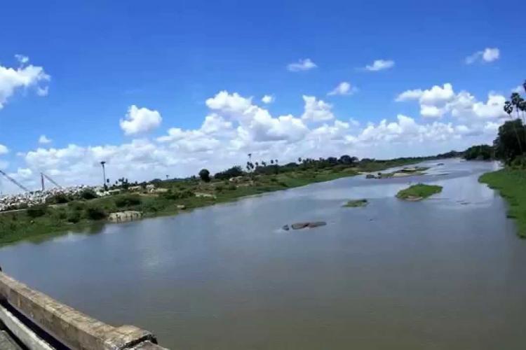 View of Thamirabarani river from a bridge