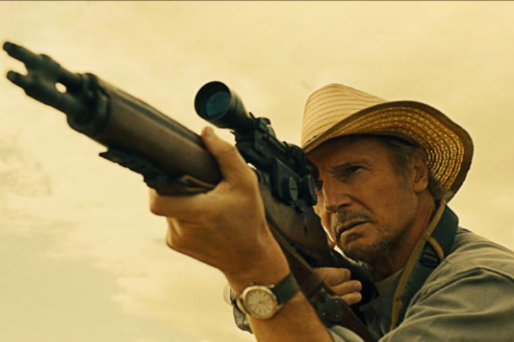 Liam Neeson plays the role of Jim Hanson in The Marksman