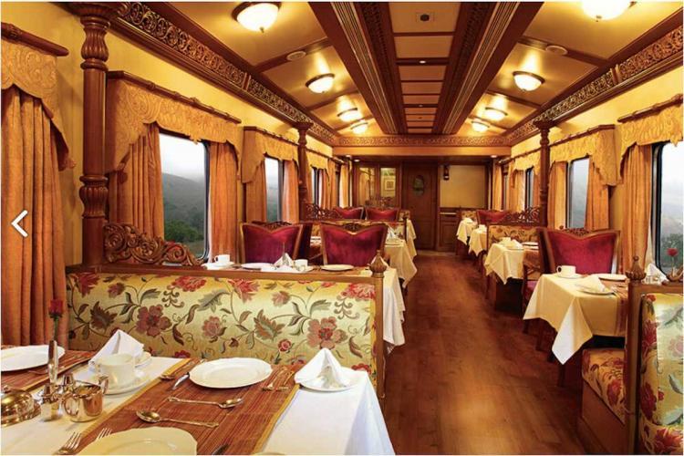 Restaurant inside The Golden Chariot Train