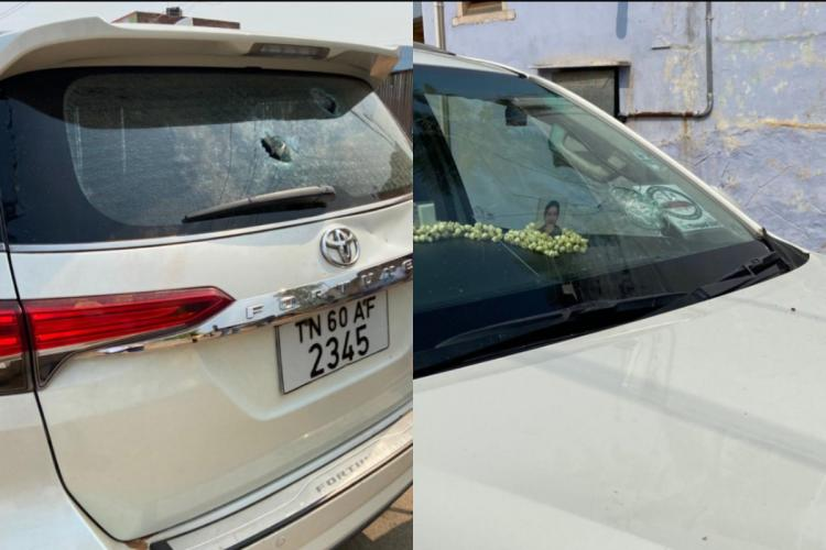 The damages to the windowpane and the rear glass of the car