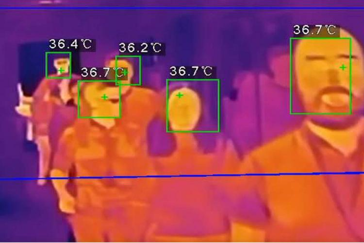 Illustration of people in queue for thermal scanning