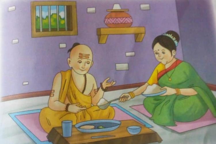Vaasuki serving food for Thiruvalluvar