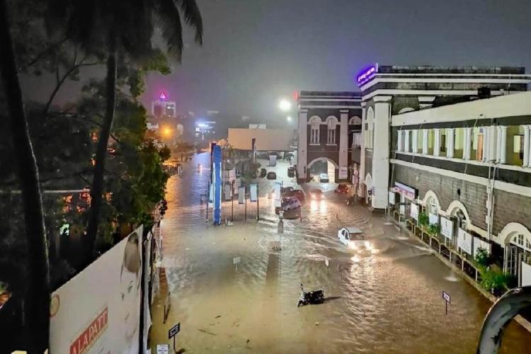 An inundated Thiruvananthapuram railway station after bout of heavy rains