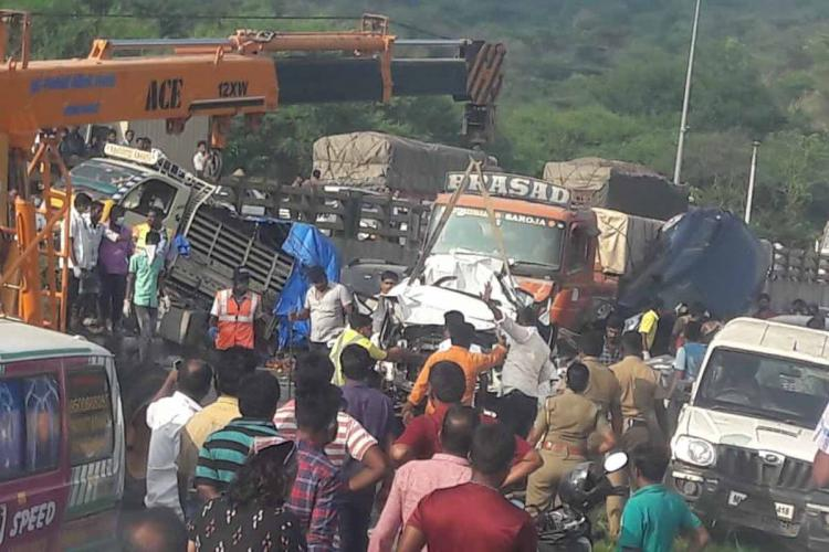 Pile up at Thoppur Ghat when a truck rammed into vehicles with people gathered at the site